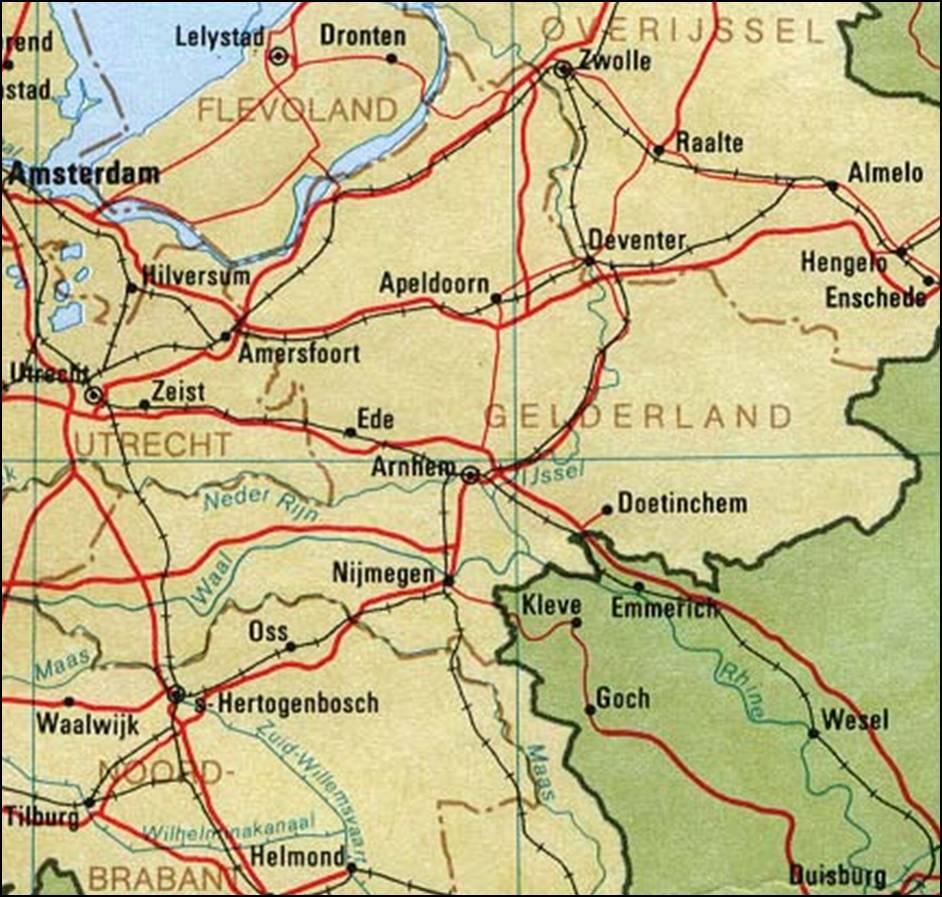 Kaart Gelderland Kaart Gelderland En Arnhem Vakantie Nederland