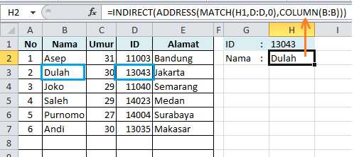 INDIRECT ADDRESS cari data kiri
