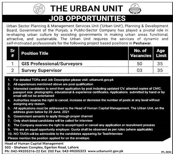 www.urbanunit.gov.pk Jobs 2021 - The Urban Unit Planning & Management Services Unit (Urban Unit) Jobs 2021 in Pakistan