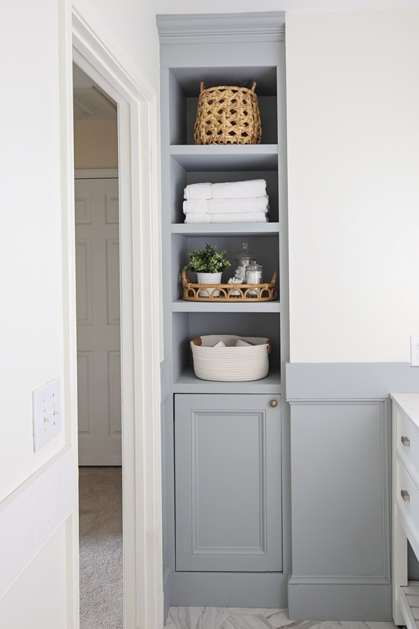 Adding built in shelves to nook in bathroom