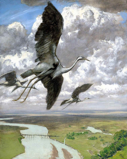 a Hans Thoma 1892 painting of cranes flying over a river, birdseye view