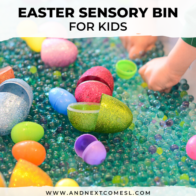 Easter sensory bin for toddlers and preschoolers