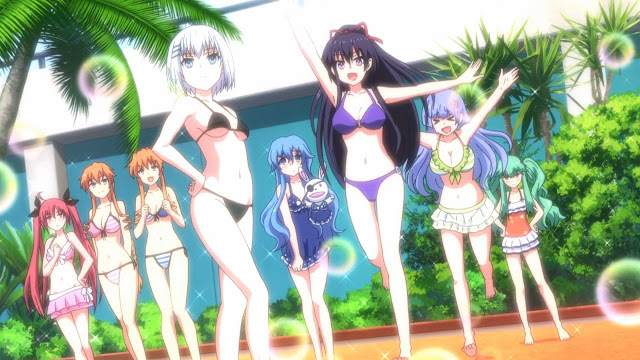 Different types of anime girls wearing swimsuits.
