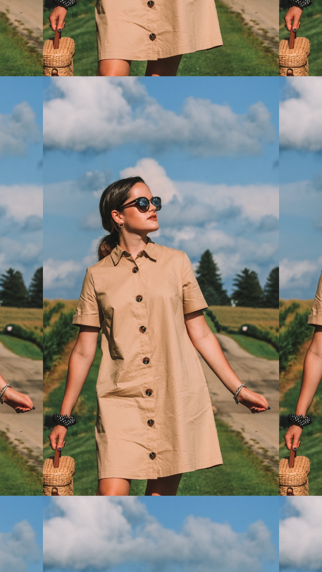 Fashion blogger Kathleen Harper wearing a khaki button-down shirtdress for fall 2020.