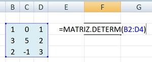 A Matemática em planilhas eletrônicas: Determinantes (fórmula)