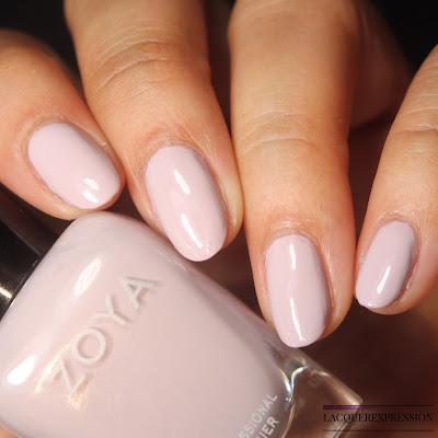 Swatch of a light purple lavender nail polish by Zoya called Birch