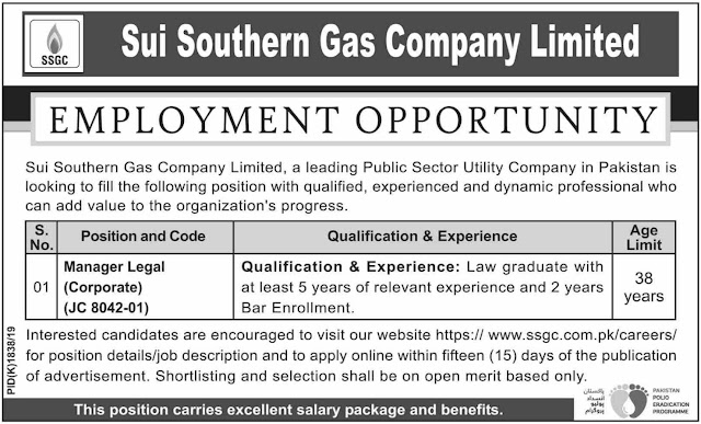 Sui Southern Gas Company Limited SSGC Jobs 2019 For Legal Manager