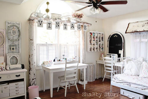 craft room final 032 Bright Shabby Chic Interior Inspiration | Living with White from Shabby Story Blog