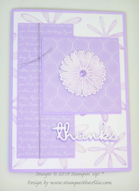 Nigezza Creates with Stampin Up! and Stamp with Nellie & Purple Posy & Daisy Lane