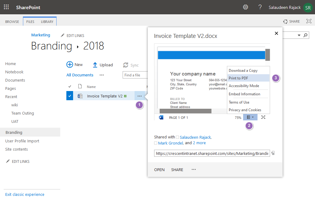 how to convert word to pdf in sharepoint online