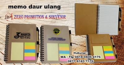 memo daur ulang, souvenir bloknote, agenda promosi