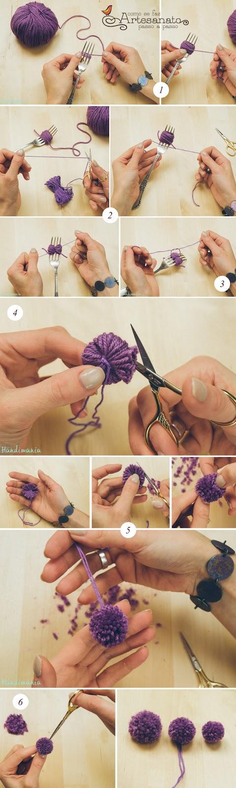 explicação passo a passo de como fazer um pompom com um garfo