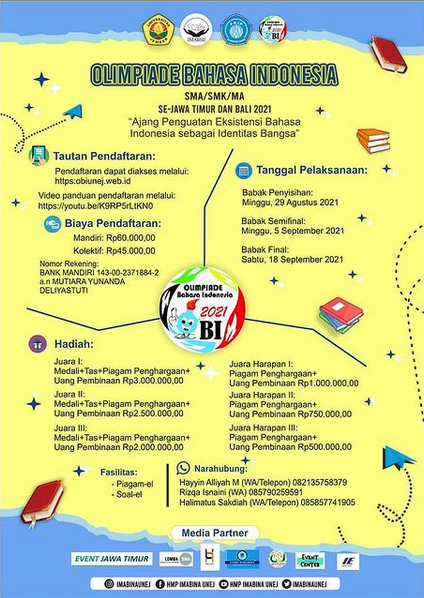 Olimpiade Bahasa Indonesia SMA/SMK/MA se-Jawa Timur dan Bali oleh HMP IMABINA FKIP Universitas Jember