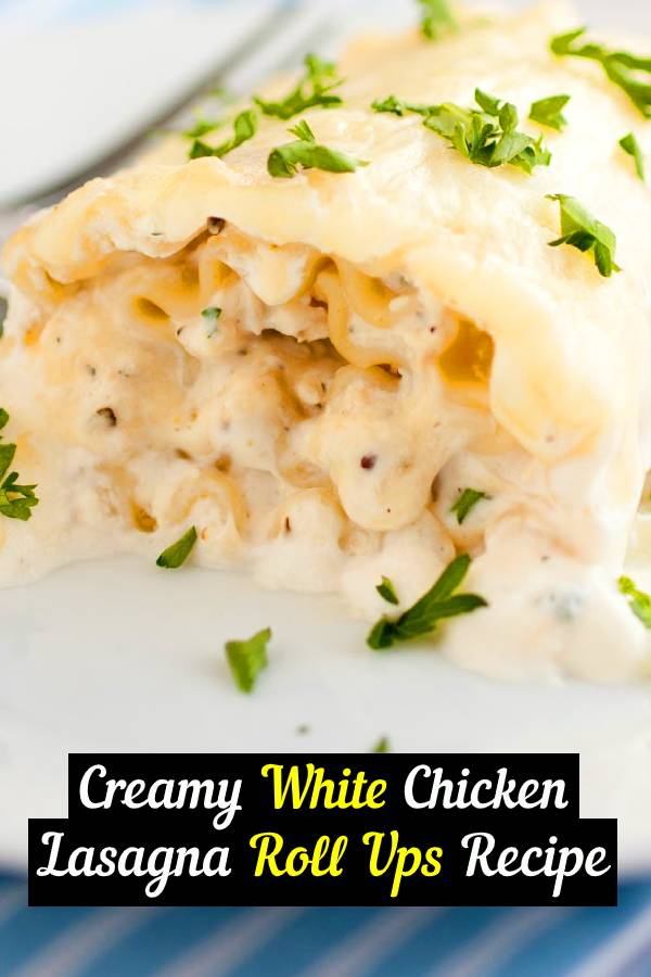 Creamy White Chicken Lasagna Roll Ups Recipe | This dish was amazing! It was incredibly creamy, hearty and filling. It was subtly flavored but had just enough flavor to keep me interested. #chicken #lasagna #whitechicken #comfortfood