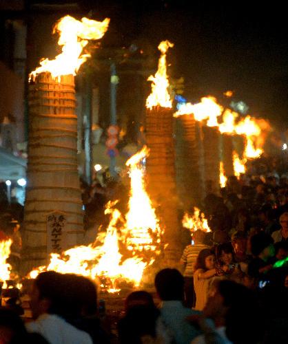 Yoshida-no-Hi-Matsuri, or fire festival, of Fuji Sengen Shrine and Suwa Shrine, Fuji-Yoshida, Yamanashi Pref.