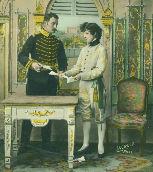 IN REVIEW: Le Chevalier de Prokesch-Osten and Napoléon II in a scene from Edmond Rostand's L'AIGLON [Print by LaCroix, Paris, circa 1910; public domain]