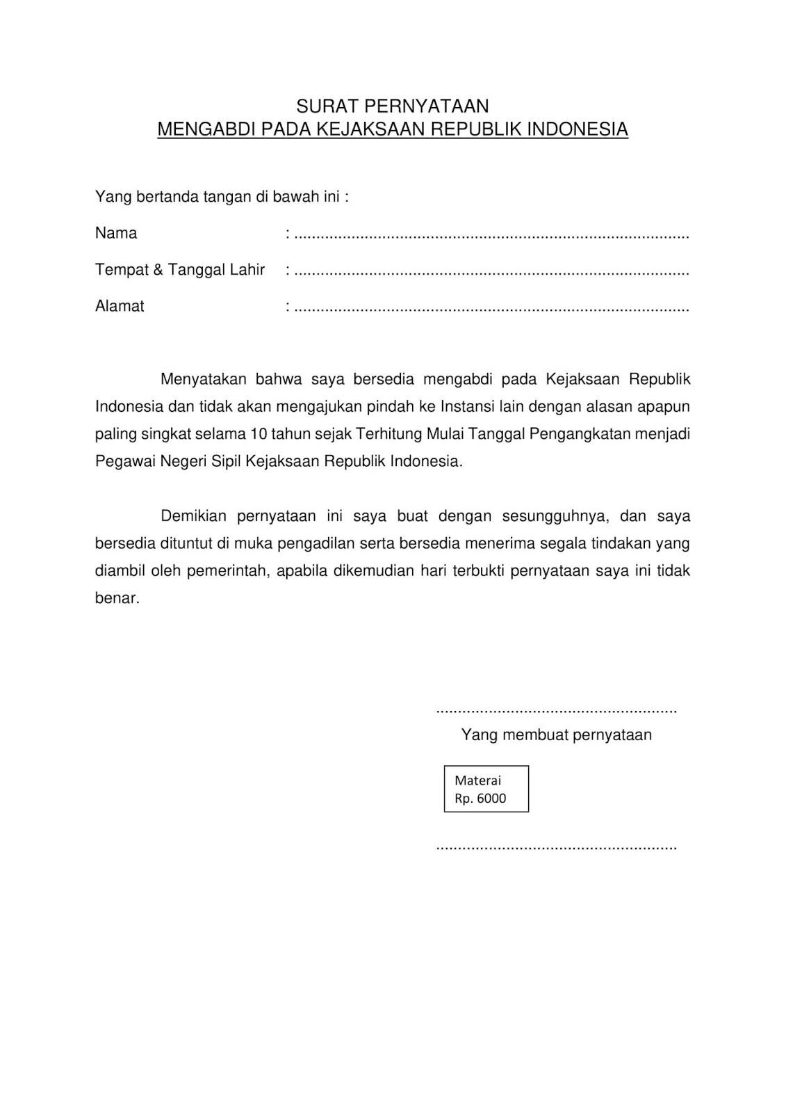 Contoh Terbaru Format Surat Pernyataan Cpns Kejaksaan Agung Tahun 2019 Semua Formasi Jabatan Rekrutmen Lowongan Kerja Bulan Oktober 2020