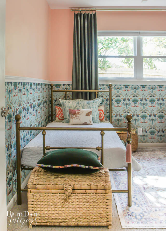 girls boho room with wallpaper