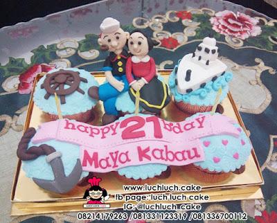 Cupcake Ulang Tahun Tema Popeye dan Olive
