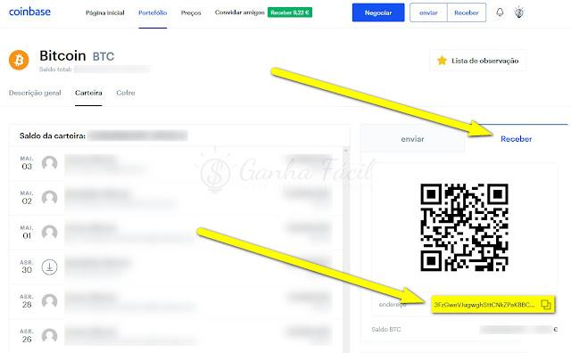 Coinbase bitcoin btc address endereço wallet