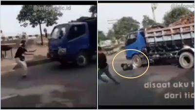 Polisi Buru Sopir Penabrak Remaja yang Buat Konten Hadang Truk di Cikarang
