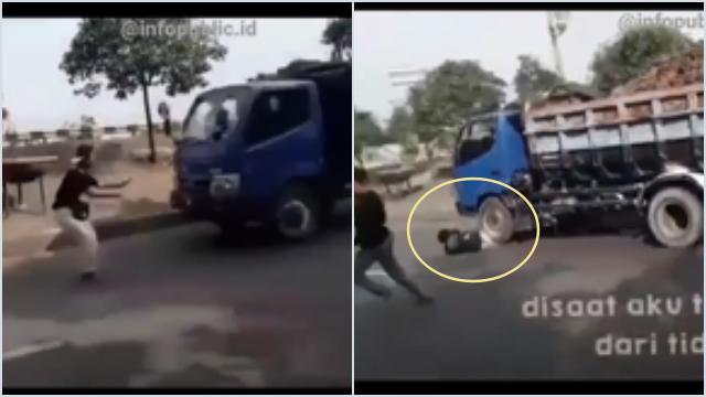 Mati Konyol! Bikin Konten Nyetop Truk, Remaja di Bekasi Terlindas, Warga Menjerit