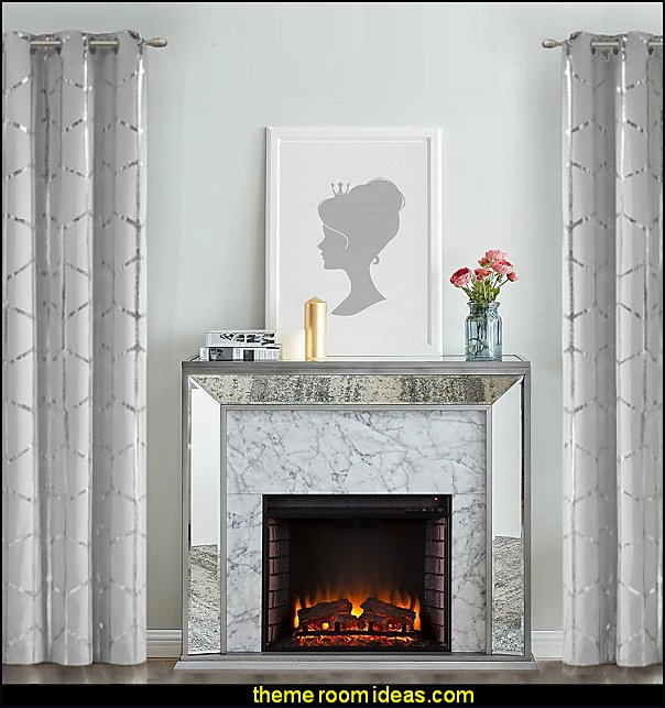 Glam Mirror Electric Fireplace Metallic Print Grommet Top Window Curtain  glam wall art