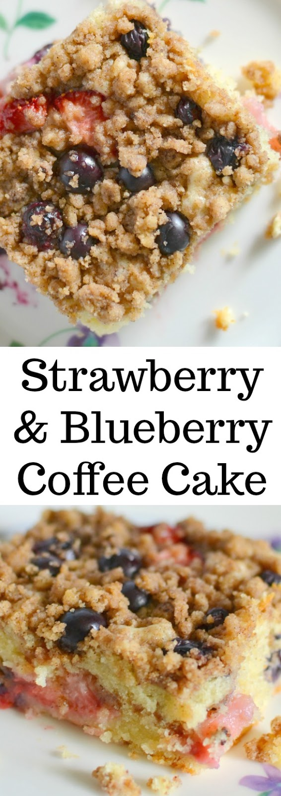 Strawberry and Blueberry Coffee Cake Recipe from Hot Eats and Cool Reads! This delicious cake is packed full of berries and is great for dessert, brunch or breakfast! Also great with blackberries, raspberries or cranberries!