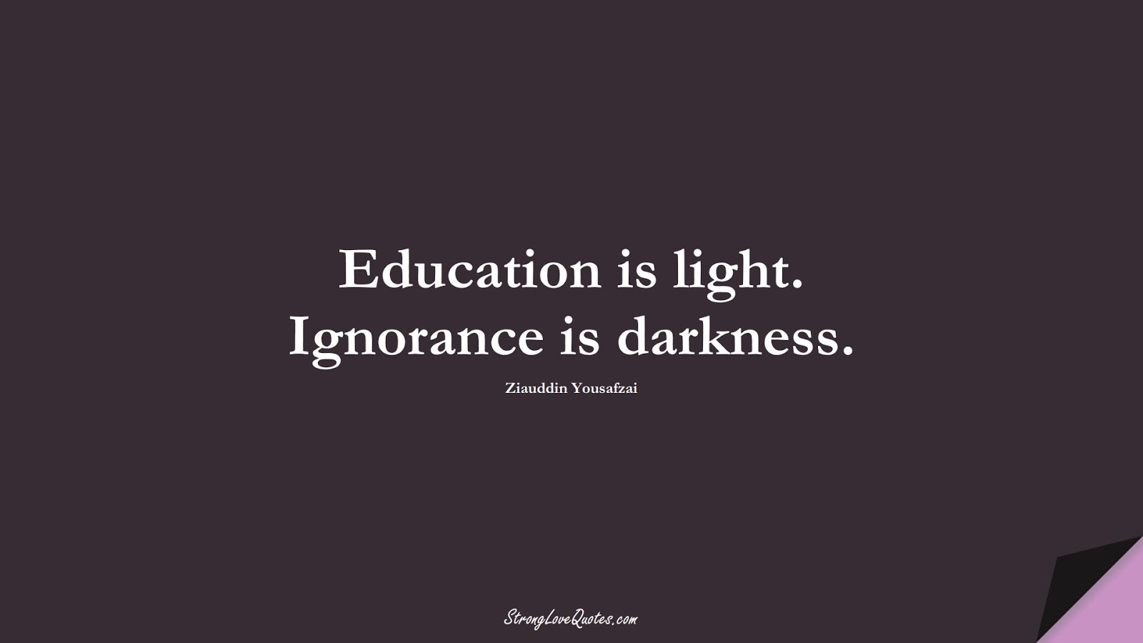 Education is light. Ignorance is darkness. (Ziauddin Yousafzai);  #EducationQuotes