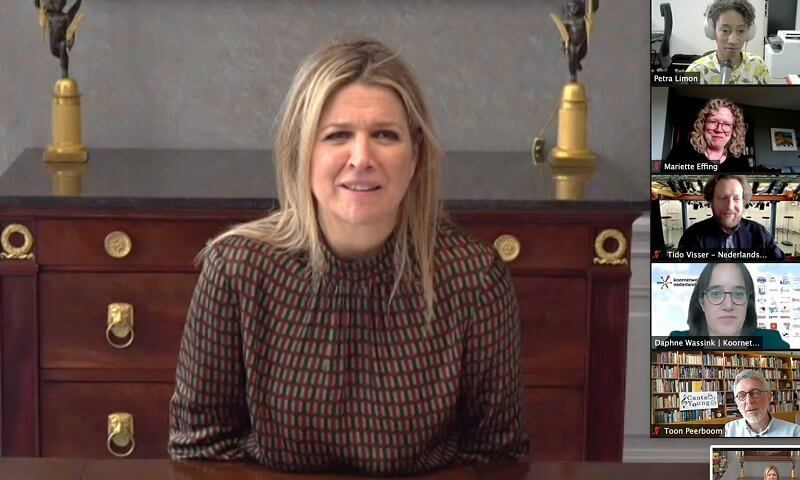 Queen Maxima wore a narel printed viscose geometrical print blouse from Natan. The European Choral Association