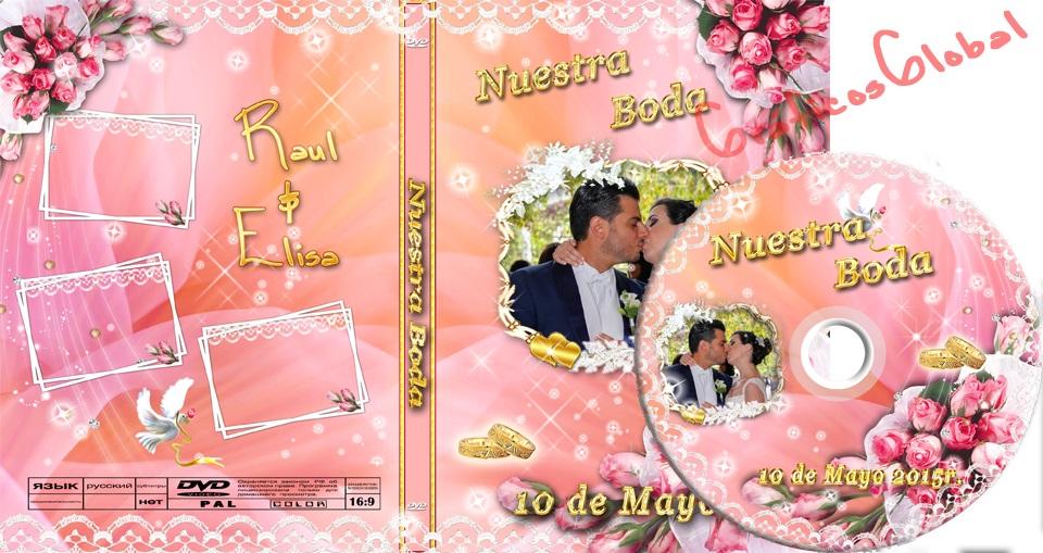 Plantilla psd rosado floral DVD portada