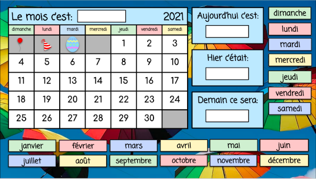 calendrier interactif - avril 2021