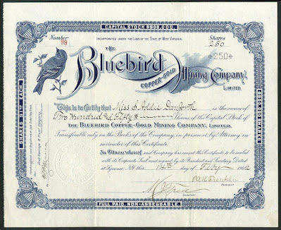 share certificate from a Utah mine company with vignette of a bluebird