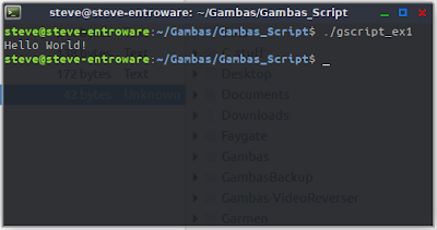 Gambas script scripter hello world