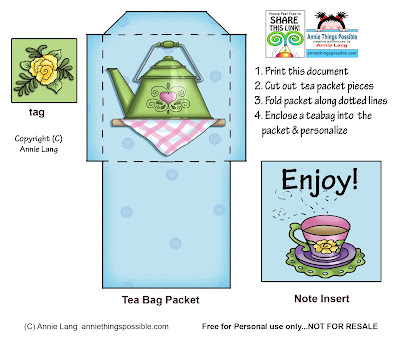 Annie Lang's fun and easy tea bag holder papercraft project you can make in just minutes