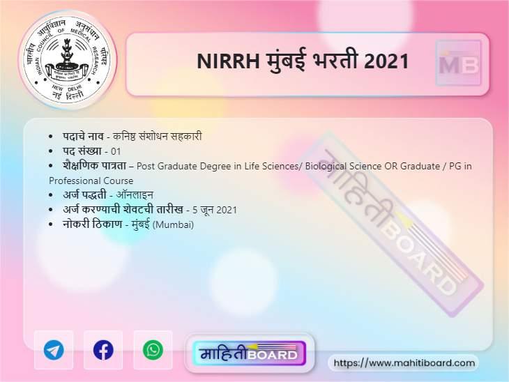 NIRRH Mumbai Recruitment 2021