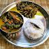 Assamese Style Everyday Lunch Platter : Bhat, Lofa xaak aru Mass & Bengana logot Masor Petu Bhoja