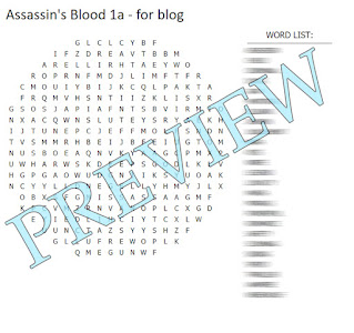 Assassin's Blood Word Search Preview - word search with blurred out word list