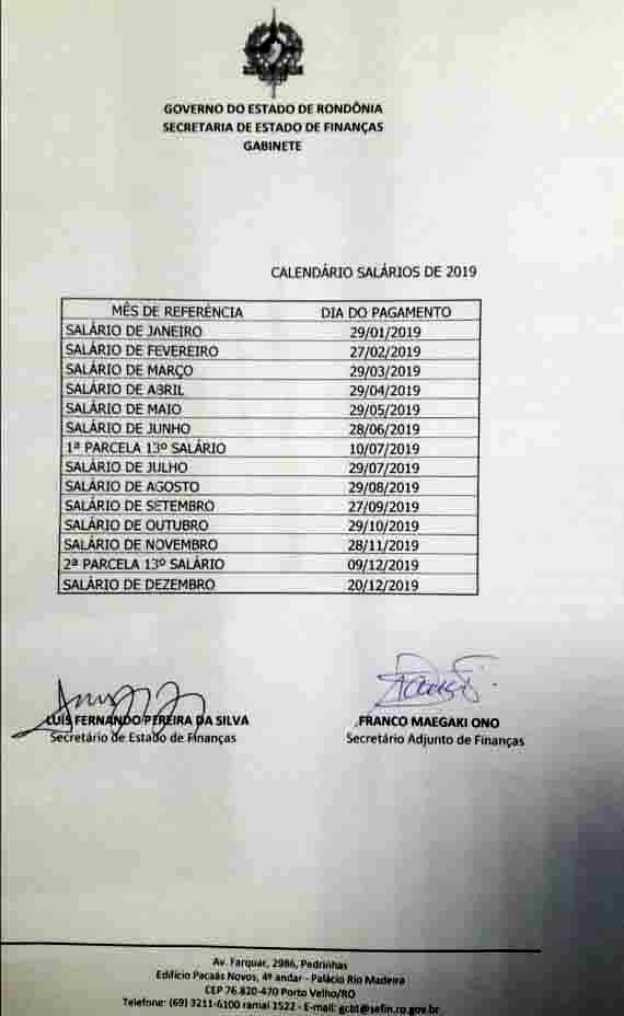 Governo de Rondônia divulga calendário anual de pagamento dos servidores para 2019