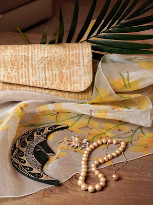 South Sea pearls and decorative etched wood carvings from Palawan