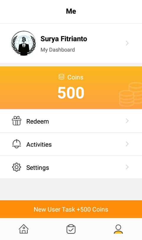 Sampai disini Anda telah berhasil mendaftar / membuat akun dan masuk ke aplikasi VeeU dan mendapatkan bonus sebanyak 500 Coins.