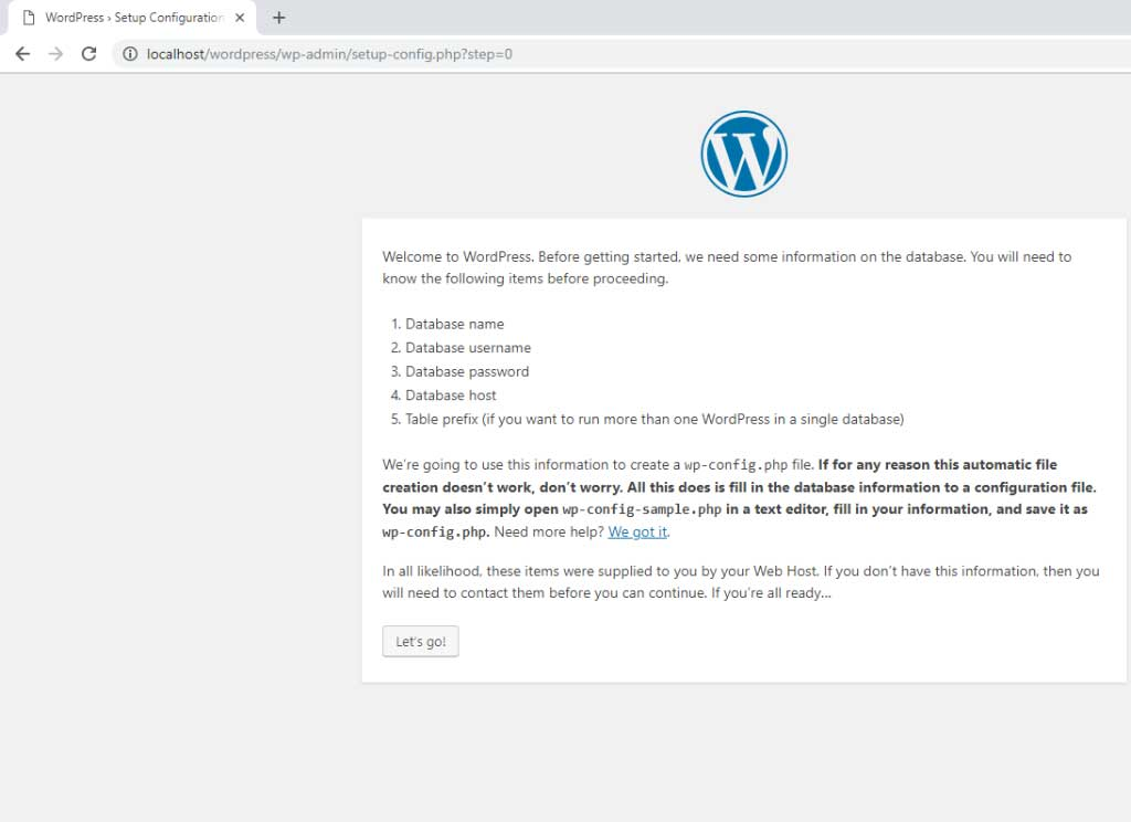 WordPress ready to configure