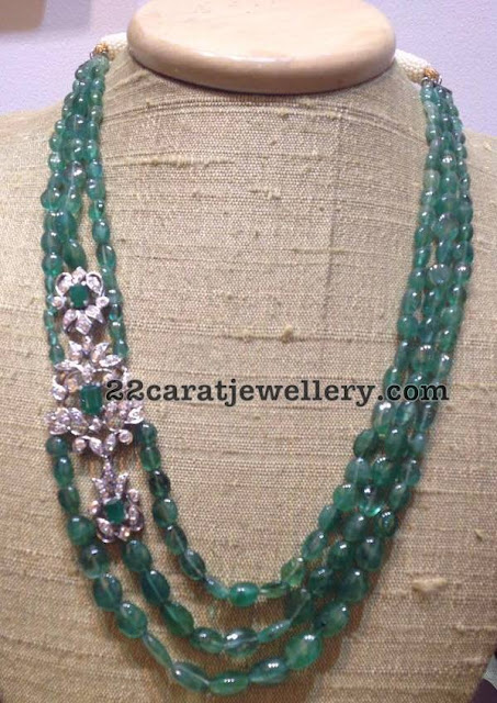 Emerald Drops Long Set with Diamond Clasps