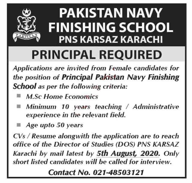 Latest Pakistan Navy Finishing School Jobs 2020