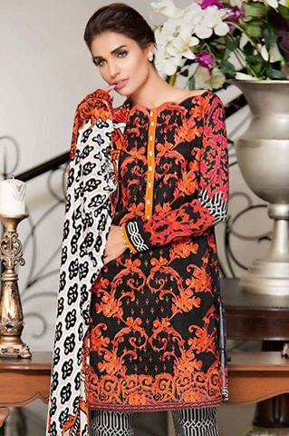 2bbf956753 Gul Ahmed lawn suit embroidered with chiffon printed dupatta printed  trouser. - Jiddat Collection | Online Shopping For Women