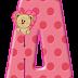Abecedario Rosa con Osito Saliendo de Corazón. Teddy Bear comming out of a Heart Alphabet.
