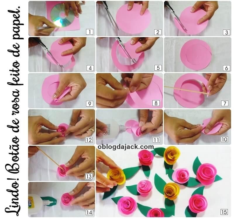 DIY Botão de rosa feito de papel