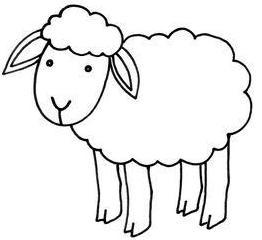 dibujo fcil de la oveja para colorear o pintar para nios