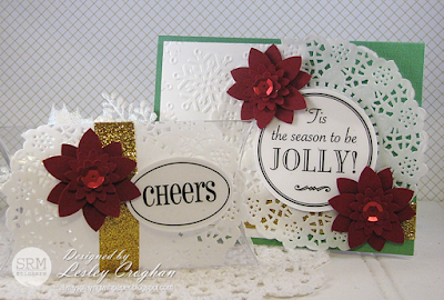 SRM Stickers Blog - Christmas Card & Gift Holder by Lesley - #christmas #pillowbox #stickers #fancy #doilies #card #giftbox #DIY