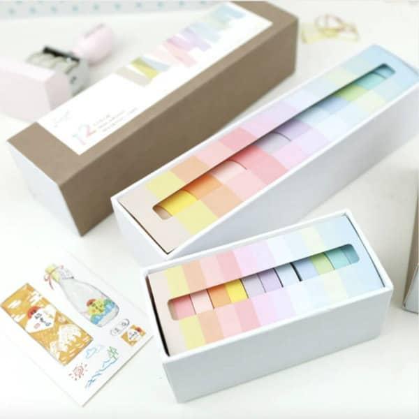 12 piece Macaron Solid Color pastel washi tape set